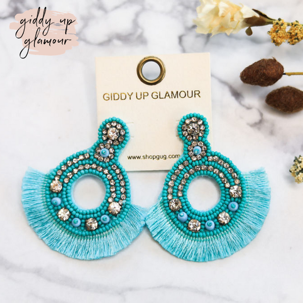 Seed-Bead and Crystal Statement Earrings with Fringe in Turquoise