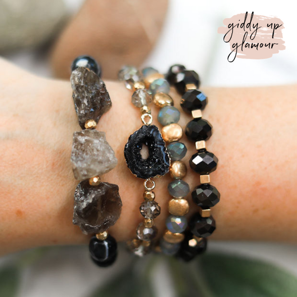4 Piece Crystal Bracelet Set in Black