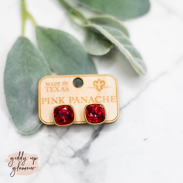 Pink Panache | Cushion Cut Red Crystal on Bronze Post Earrings