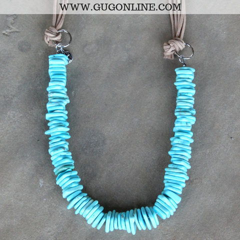 Large Rough Cut Turquoise Disc Necklace with Tan Leather