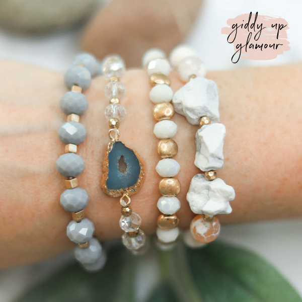 4 Piece Crystal Bracelet Set in White Buffalo
