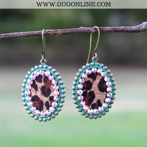 Pink Panache Small Turquoise Oval Earrings with Leopard and AB Crystals