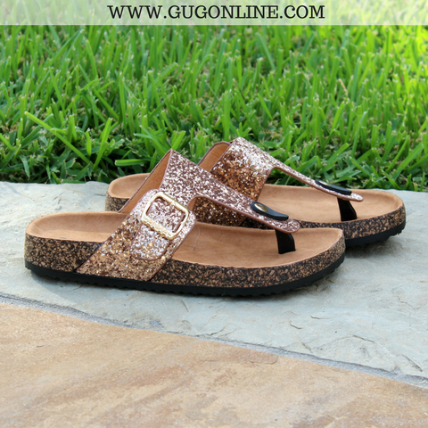 Summer Castaway Thong Sandal in Rose Gold Glitter