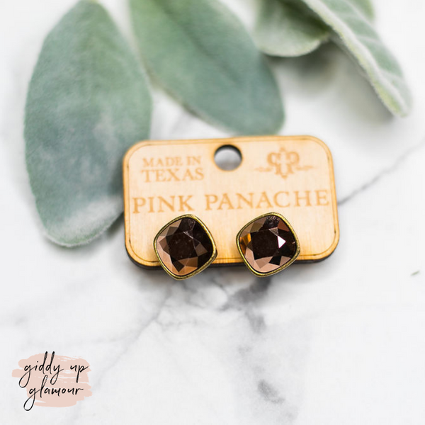 Pink Panache | Cushion Cut Rose Gold Crystal on Bronze Post Earrings