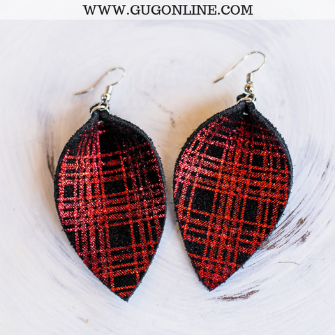The JoJo's Plaid Pinched Leather Earrings in Red