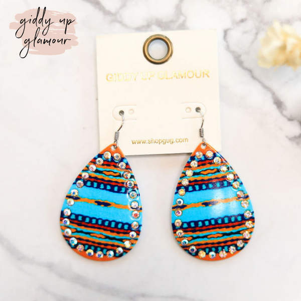 Serape Teardrop Earrings with AB Crystal Outline in Turquoise