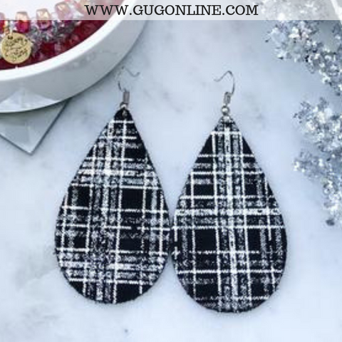 Plaid Leather Teardrop Earrings in Silver Shimmer