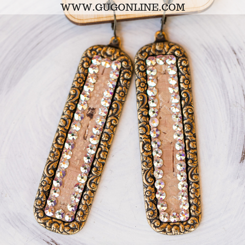 Pink Panache Long Bronze Rectangle with Python Snakeskin Inlay Earrings & AB Crystals