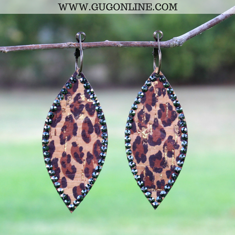 Pink Panache Leopard Navette Earrings with Black Crystals