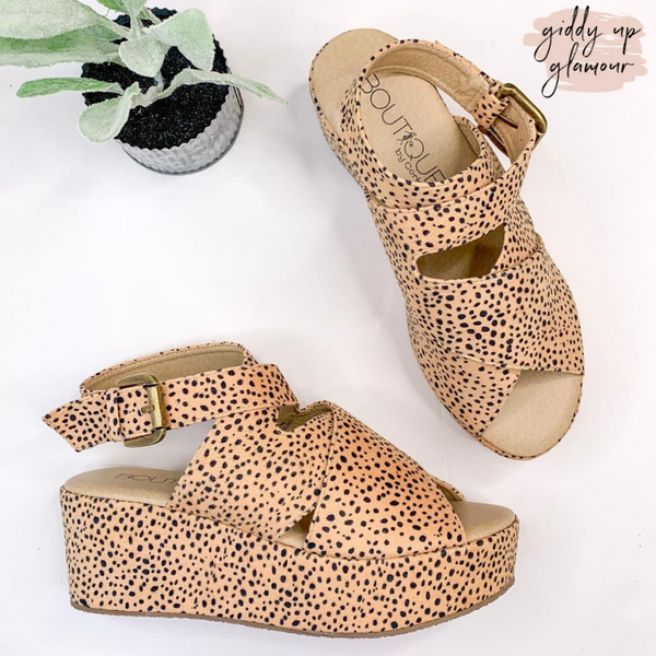 Corky's | Marseille Crossed Straps Flatform Sandals in Cheetah