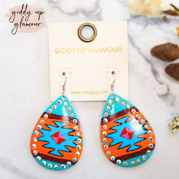 Aztec Teardrop Earrings with AB Crystal Outline in Turquoise