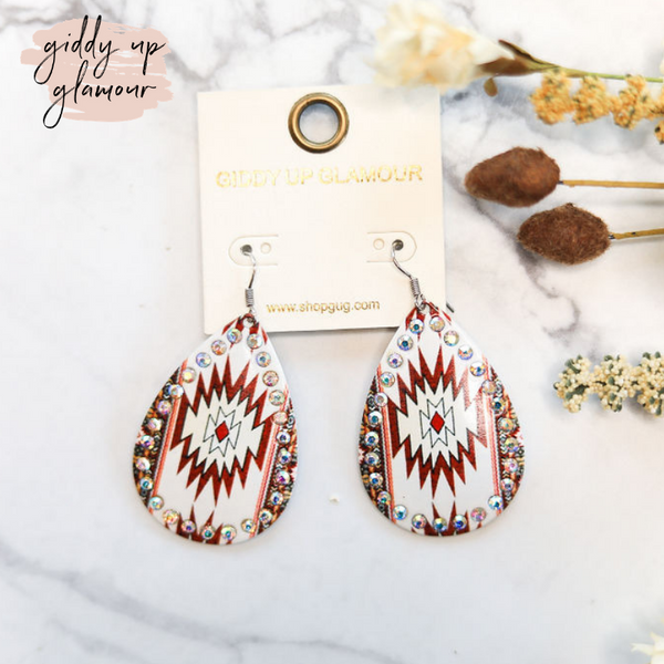 Aztec Teardrop Earrings with AB Crystal Outline in Red