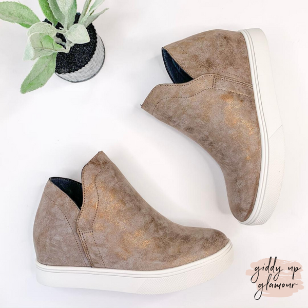 Corky's | Jersey Metallic Heeled Sneakers in Bronze