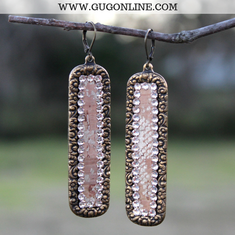 Pink Panache Long Bronze Rectangle with Python Snakeskin Inlay Earrings & Light Silk Crystals
