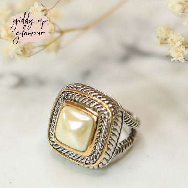 Designer Inspired | Large Two Toned Ring with Cream Pearl Stone