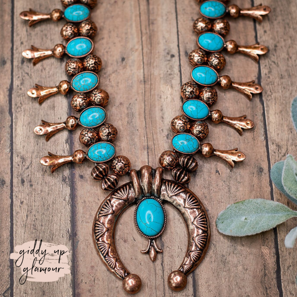 Copper Squash Blossom Necklace with Turquoise Stones