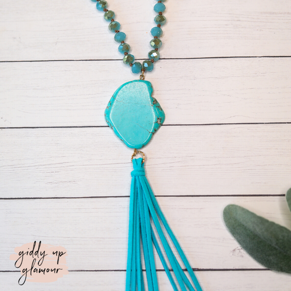 Turquoise Stone Necklace with Light Blue Crystals and Turquoise Tassels
