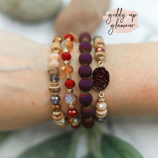 4 Piece Beaded Bracelet Set with Druzy Pendant in Burgundy