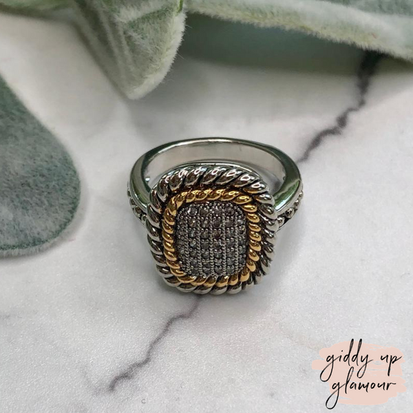 Designer Inspired | Two Toned Rope Framed Ring with Clear Crystals