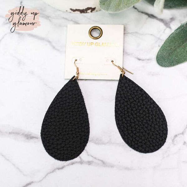 Leather Teardrop Earrings in Black