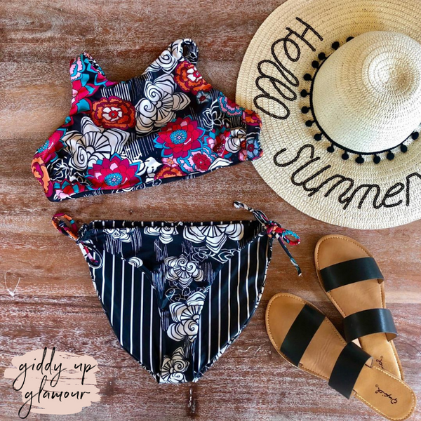 Feelin' Salty Floral and Stripe Bikini Top