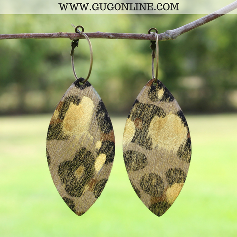 Gold Acid Wash Leopard Hair On Hide Leather Oval Earrings