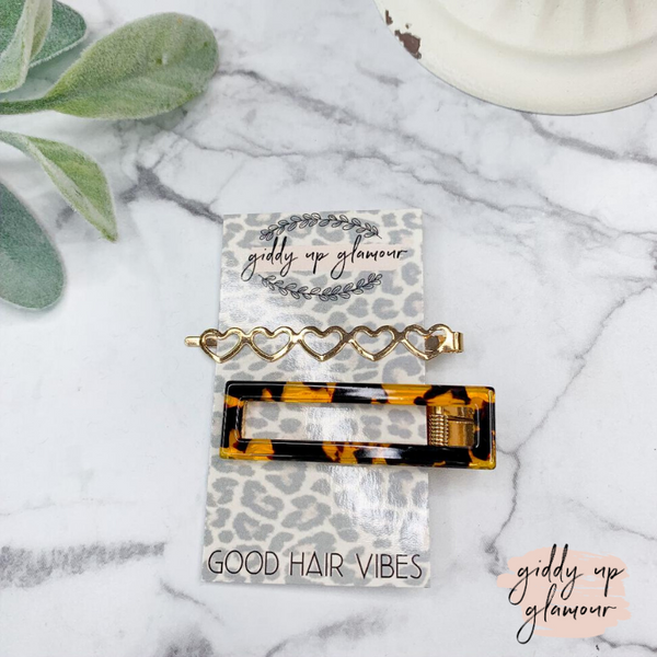 Set of Two | Gold Leopard and Hearts Hair Pins