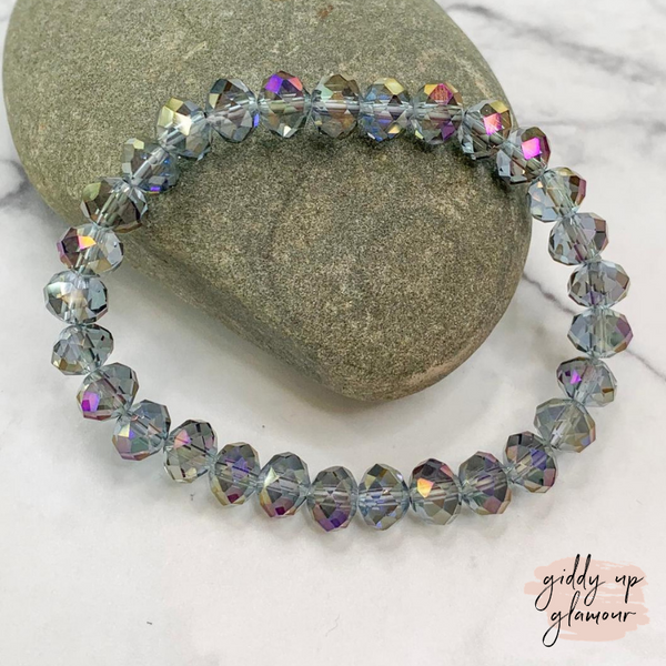 Crystal Beaded Stacker Bracelet in Clear Iridescent