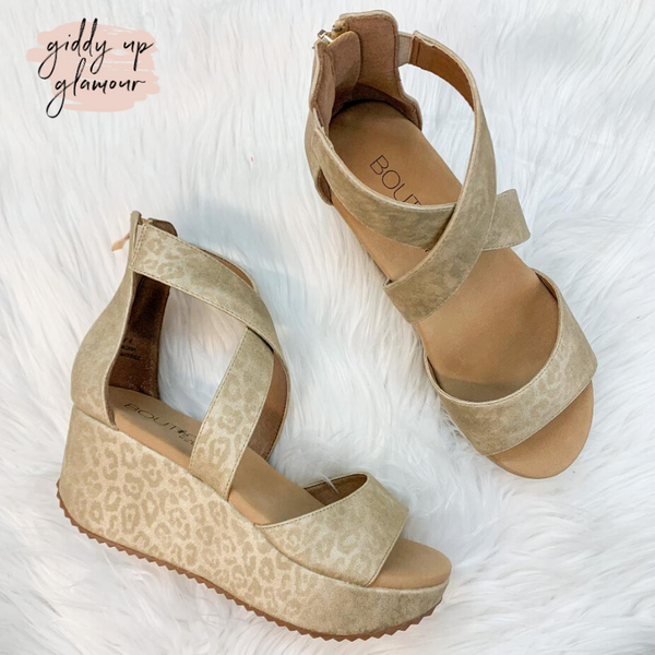 Corky's | Fay Strappy Sandal Wedges in Gold Leopard