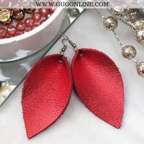 The JoJo's Pinched Leather Earrings in Metallic Red
