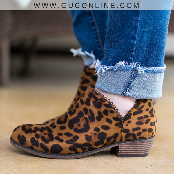 The Wild Life Scalloped Booties in Leopard - Size 6, 8, 8.5 - FURTHER MARKDOWN!