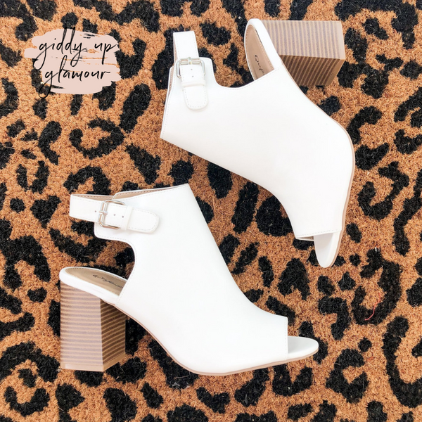 Watch Me Walk Peep Toe Booties in White