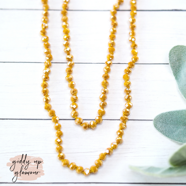60 Inch Long 6 mm Layering Crystal Strand Necklace in Mustard Yellow