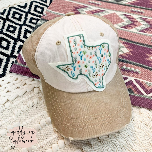 My Texas Distressed Ball Cap in Beige