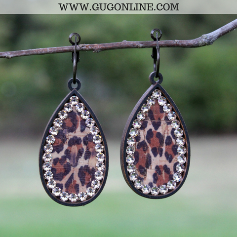 Pink Panache Black Teardrop Earrings with Leopard Inlay with Topaz Crystals