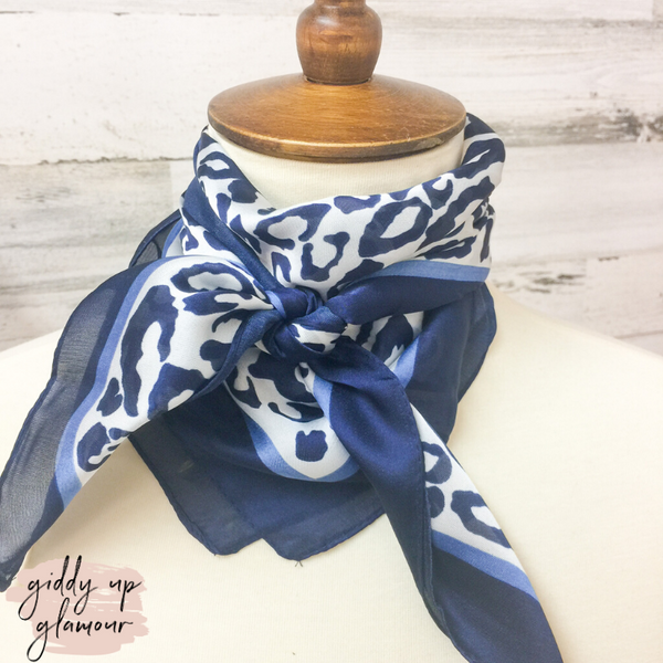 Leopard Print Silky Scarf in Navy and Blue