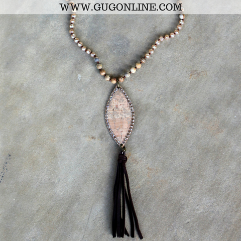 Pink Panache Long Gold Jasper Tassel Necklace with Python Navette and Light Topaz Crystals
