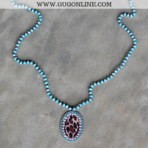 Pink Panache Long Turquoise Necklace with Large Turquoise Oval with Leopard and AB Crystals