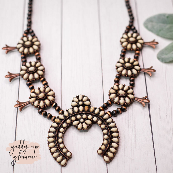 Copper Oval Squash Blossom Necklace with White Stones