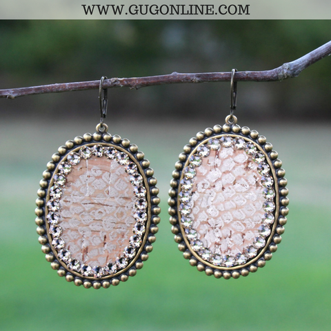 Pink Panache Bronze Oval Earrings with Snakeskin Inlay and Light Topaz Crystals