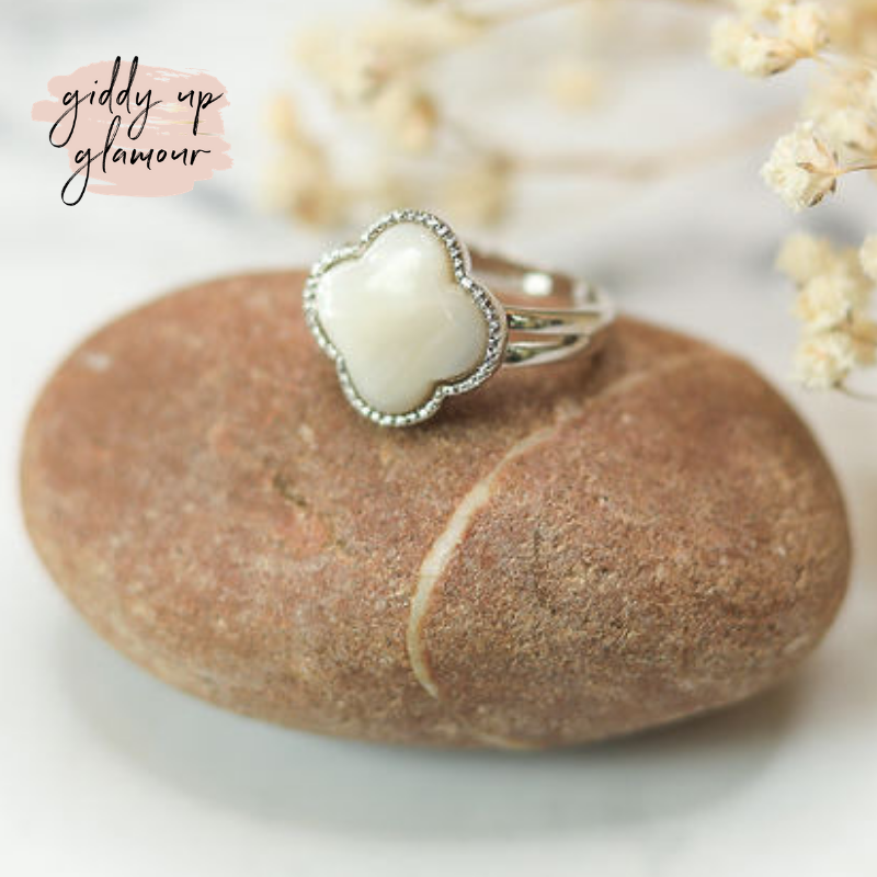 Designer Inspired Mother Of Pearl Clover Fashion Ring Giddy Up Glamour Boutique