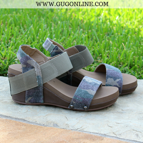Bandit Strappy Wedge Sandals in Camouflage