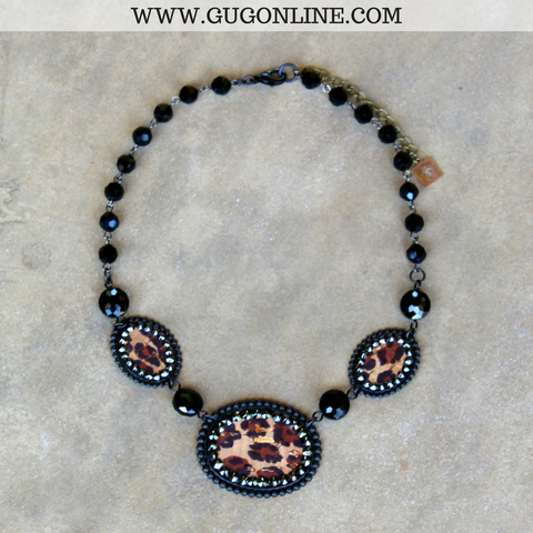 Pink Panache Black Oval Necklace with Leopard Inlay and Black Crystals