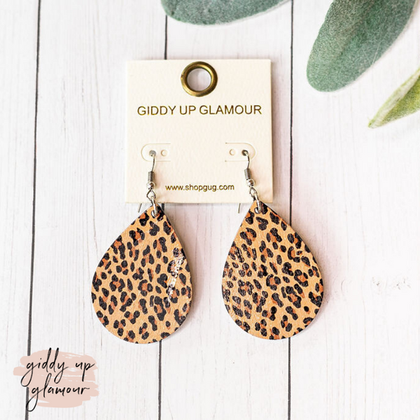 Wooden Teardrop Earrings in Leopard Print