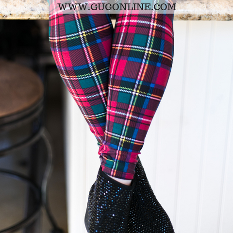 Oh So Grateful Christmas Plaid Butter Soft Leggings in Maroon