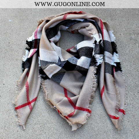 Burberry Plaid Blanket Scarf in Beige
