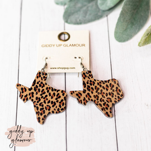 Wooden Texas Shaped Earrings in Leopard Print