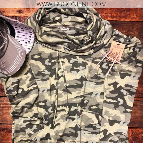 Casual Expectations Long Sleeve Cowl Neck Top in Camouflage