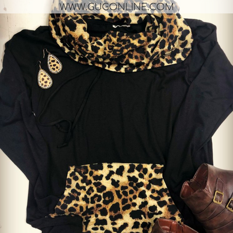 Casual Expectations Long Sleeve Cowl Neck Top with Leopard Accents in Black