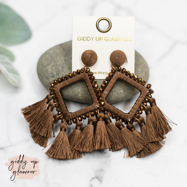Crystal Diamond Outline Earrings with Tassels in Brown